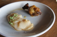 Scallop Crudo + Chicken Drumette with dates, olives + capers