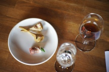 Pan Seared Artichokes with sherry vinegar, lemon + thyme + Prosciutto and basil wrapped figs