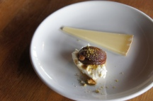 Turkish Apricots with walnut, mascarpone, + crushed pistachios + Pleinvent Fermier Cheese