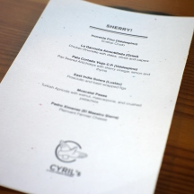 Pairing Menu created by Sasha Davies