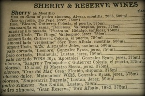 sherry list