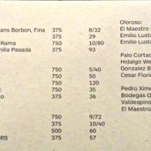 sherry menu